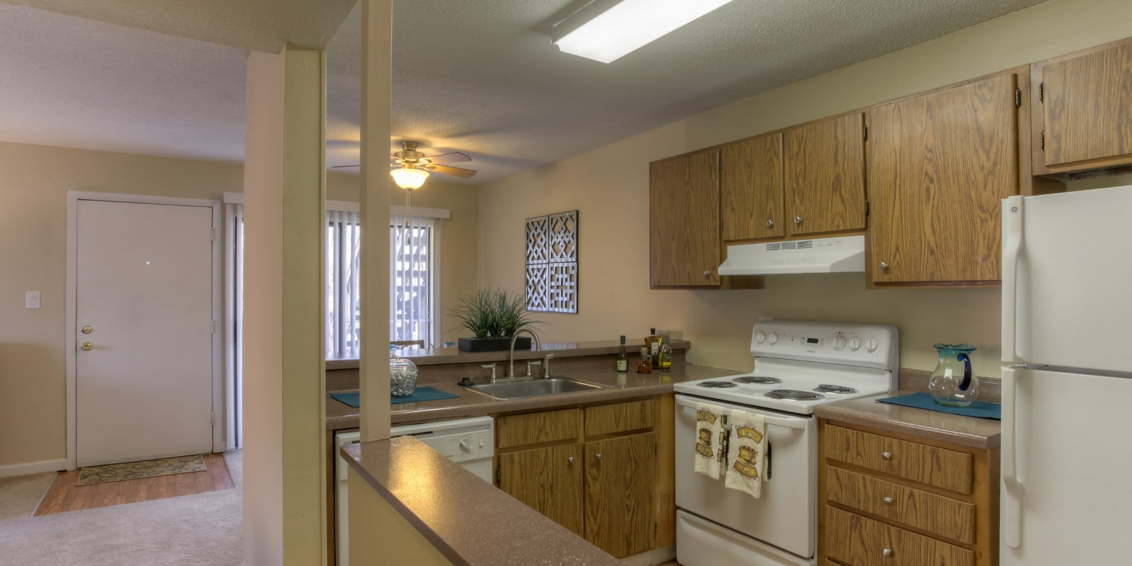 Kitchen with plenty of cabinet space at Enclave at North Point Apartment Homes in Winston Salem, North Carolina