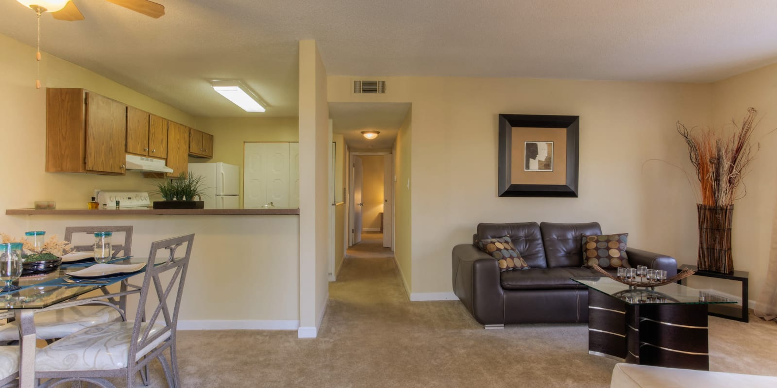 Open-concept dining room at Enclave at North Point Apartment Homes in Winston Salem, North Carolina