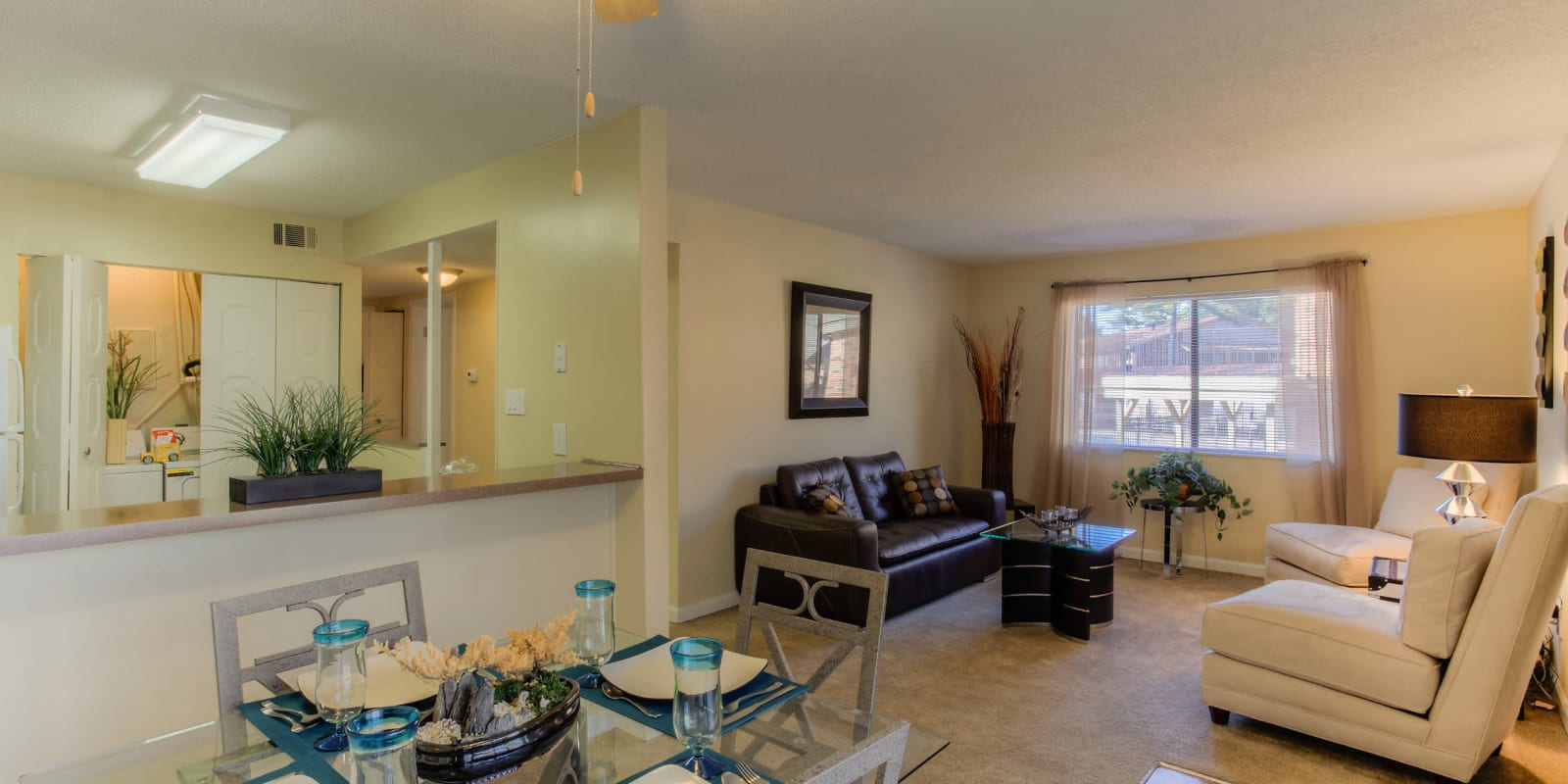 A dining room and kitchen with plush carpeting at Enclave at North Point Apartment Homes in Winston Salem, North Carolina