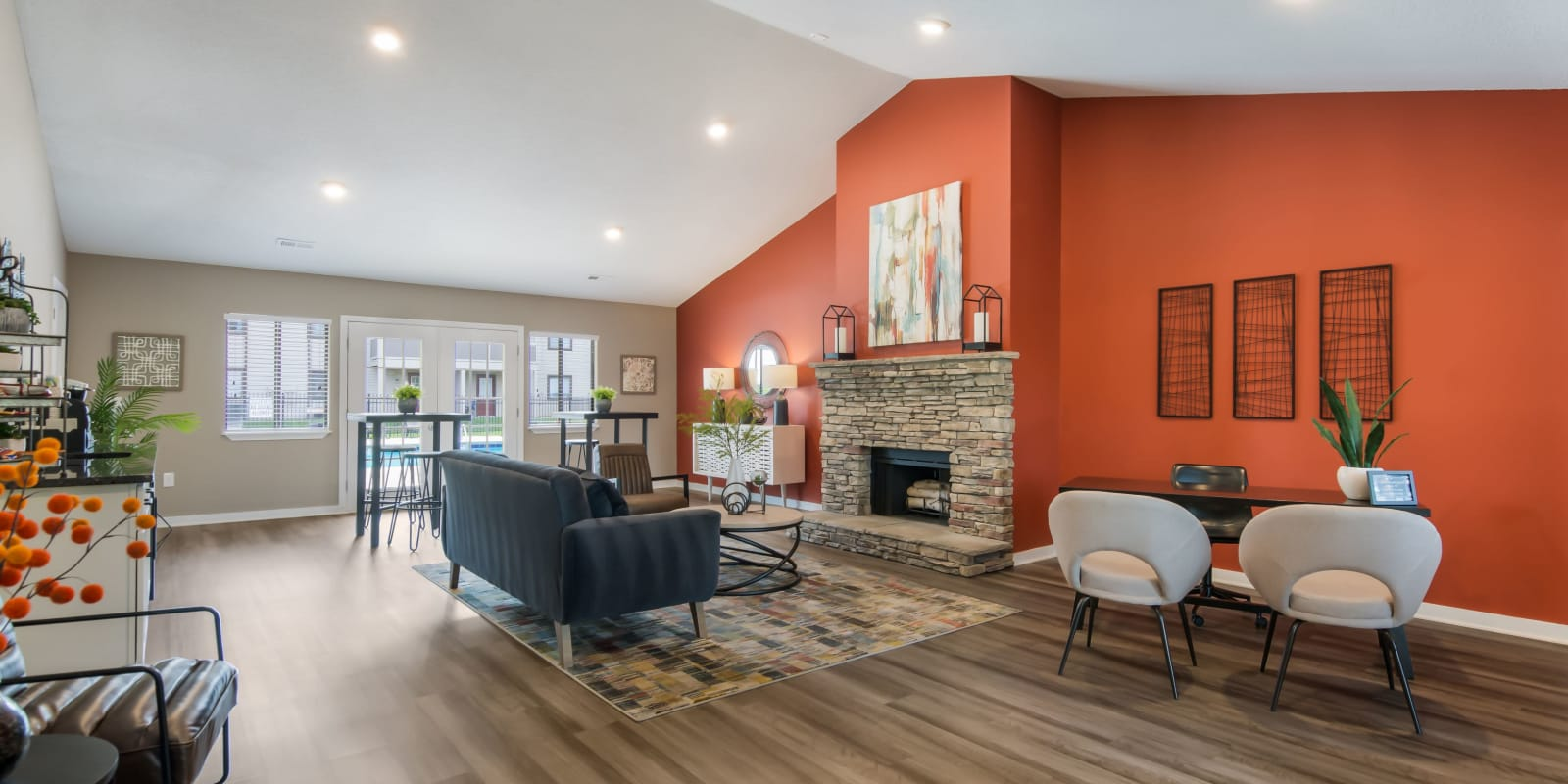 Clubhouse with wood-style flooring at Gable Oaks Apartment Homes in Rock Hill, South Carolina