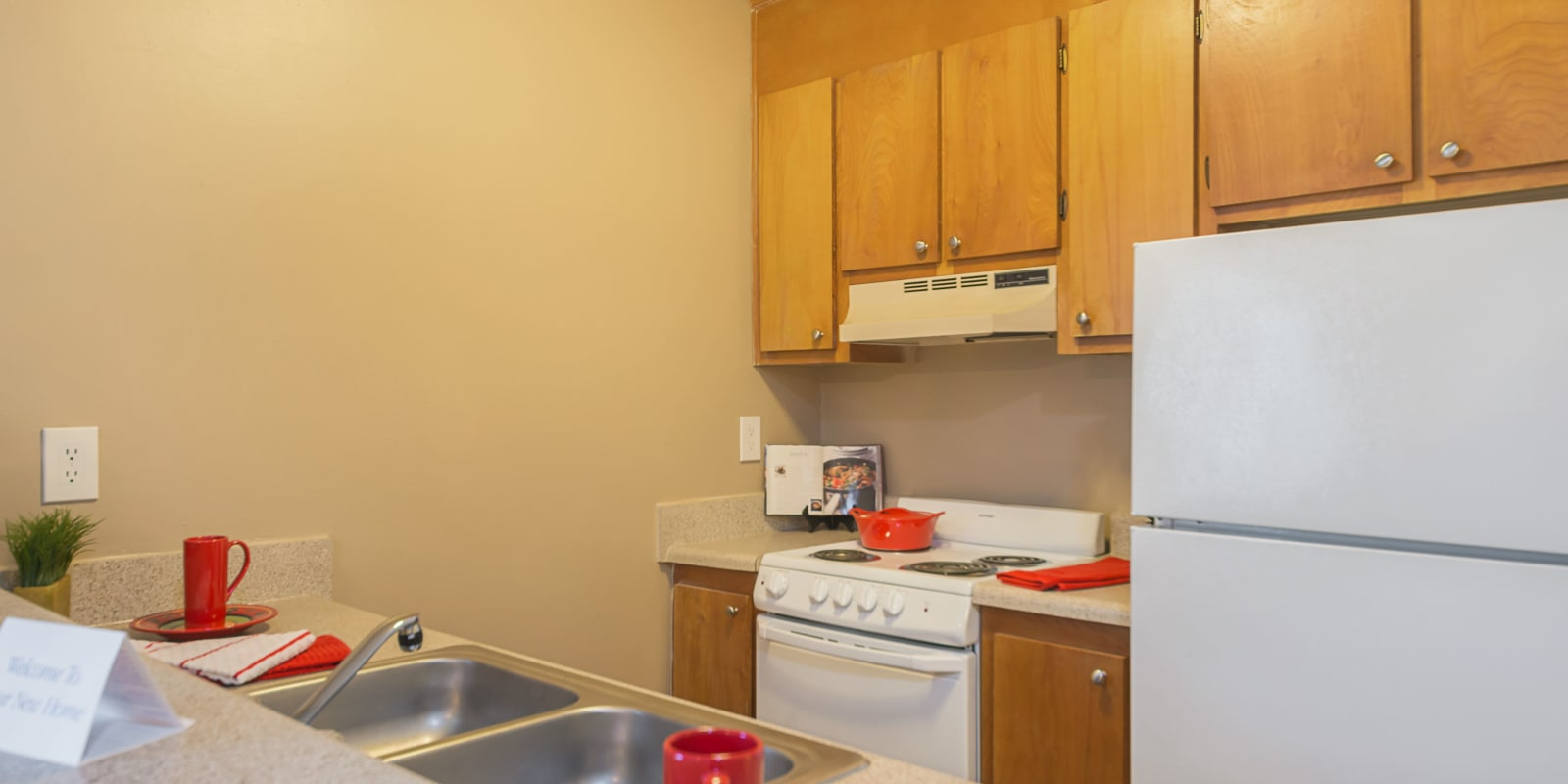 Kitchen with a stainless-steel sink at Lakewood Apartment Homes in Salisbury, North Carolina