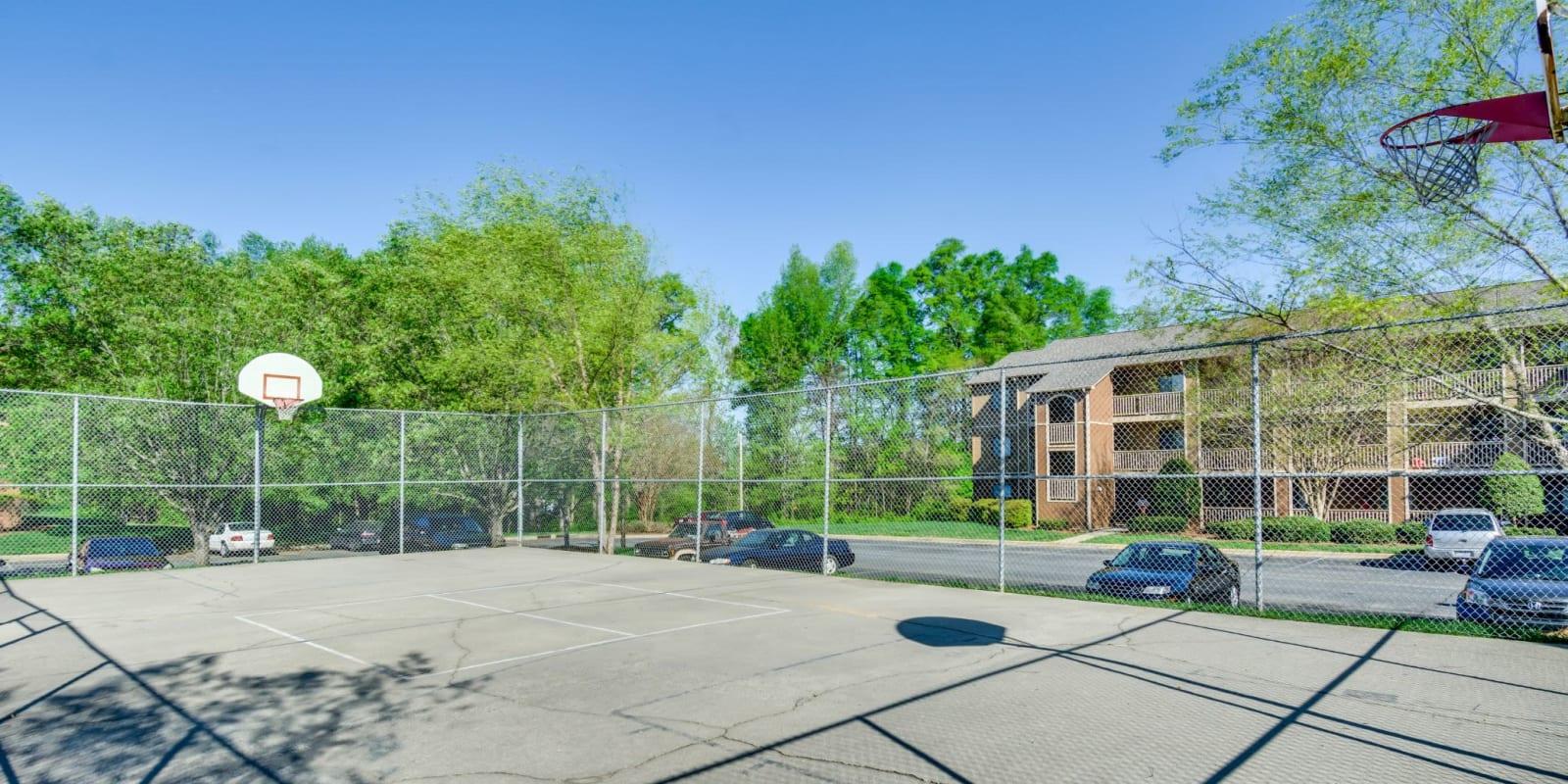 Onsite basketball court at Woodbrook Apartment Homes in Monroe, North Carolina