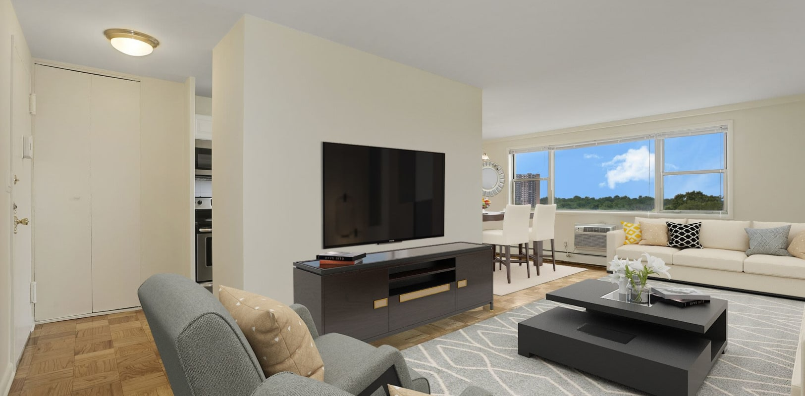 Living room with a view at 10 Landing Lane in New Brunswick, New Jersey