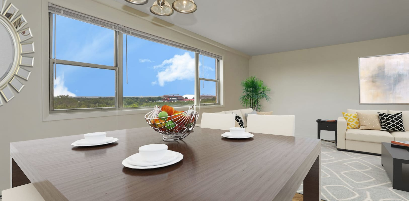 Dining area at 10 Landing Lane in New Brunswick, New Jersey