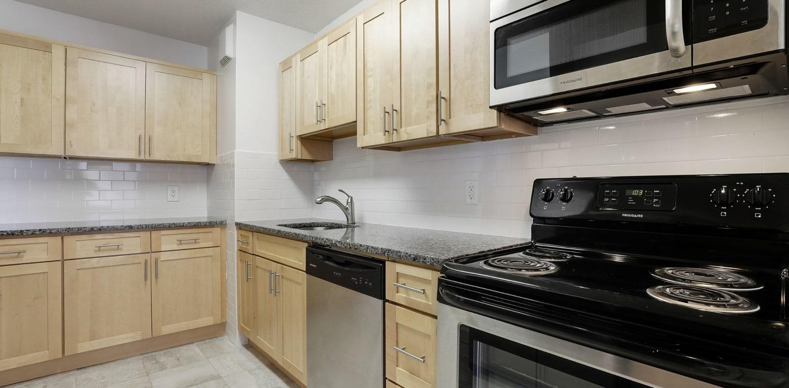 Modern, sleek kitchen at 140 Prospect in Hackensack, New Jersey