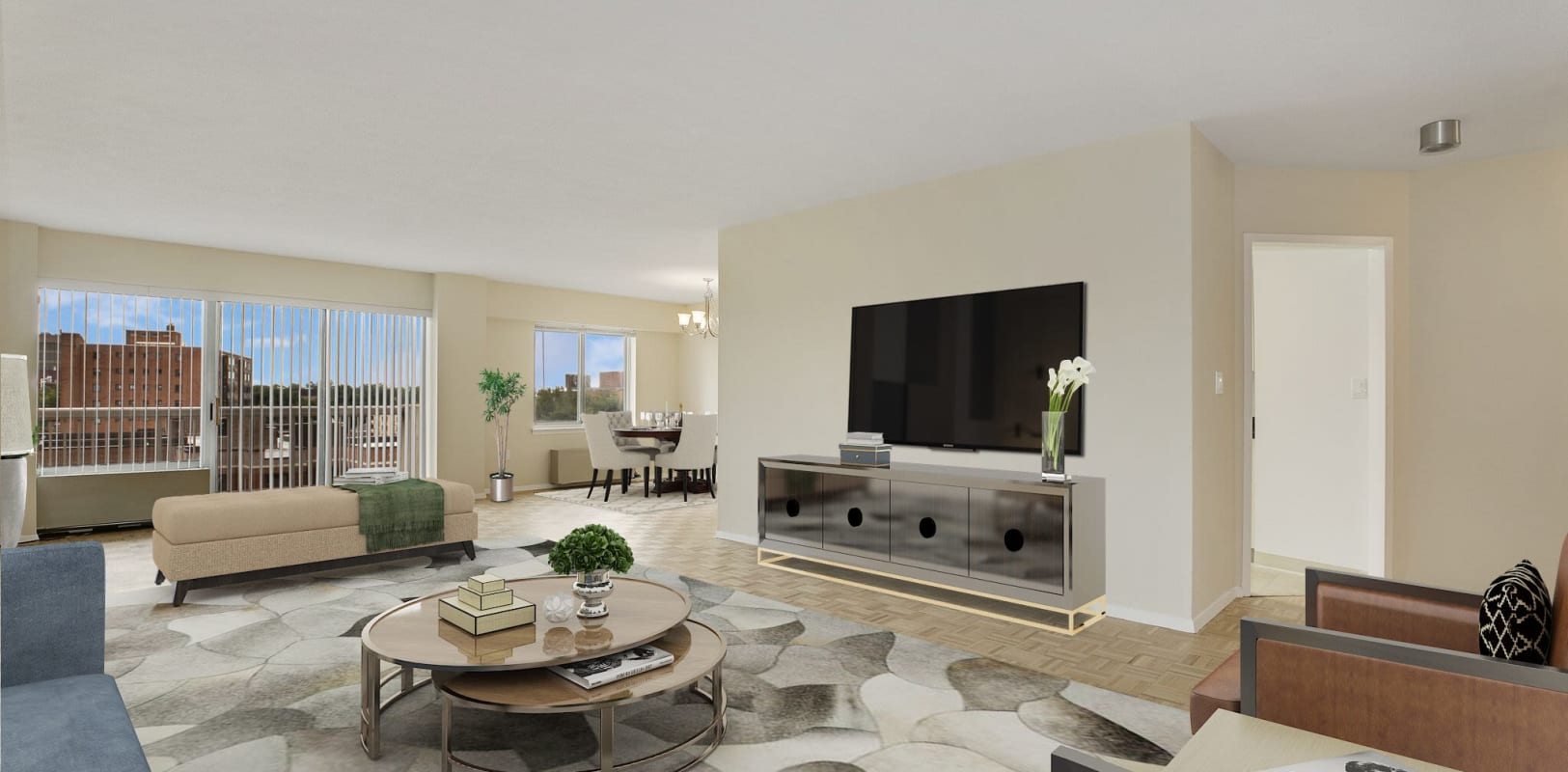 Bright, spacious living room at 140 Prospect in Hackensack, New Jersey