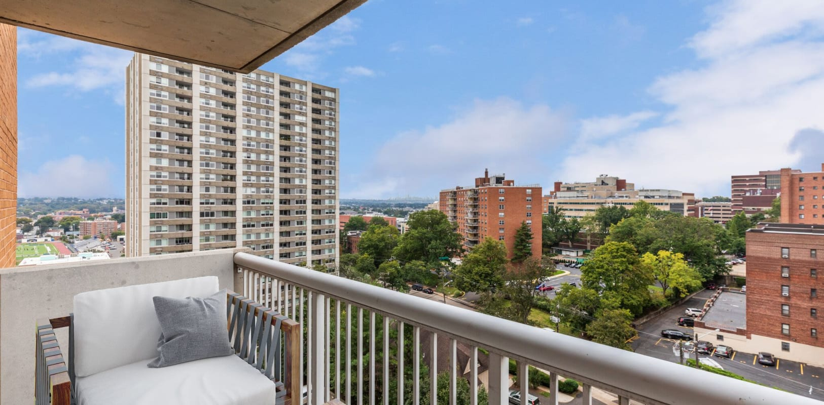 Private balcony with a view at 140 Prospect in Hackensack, New Jersey