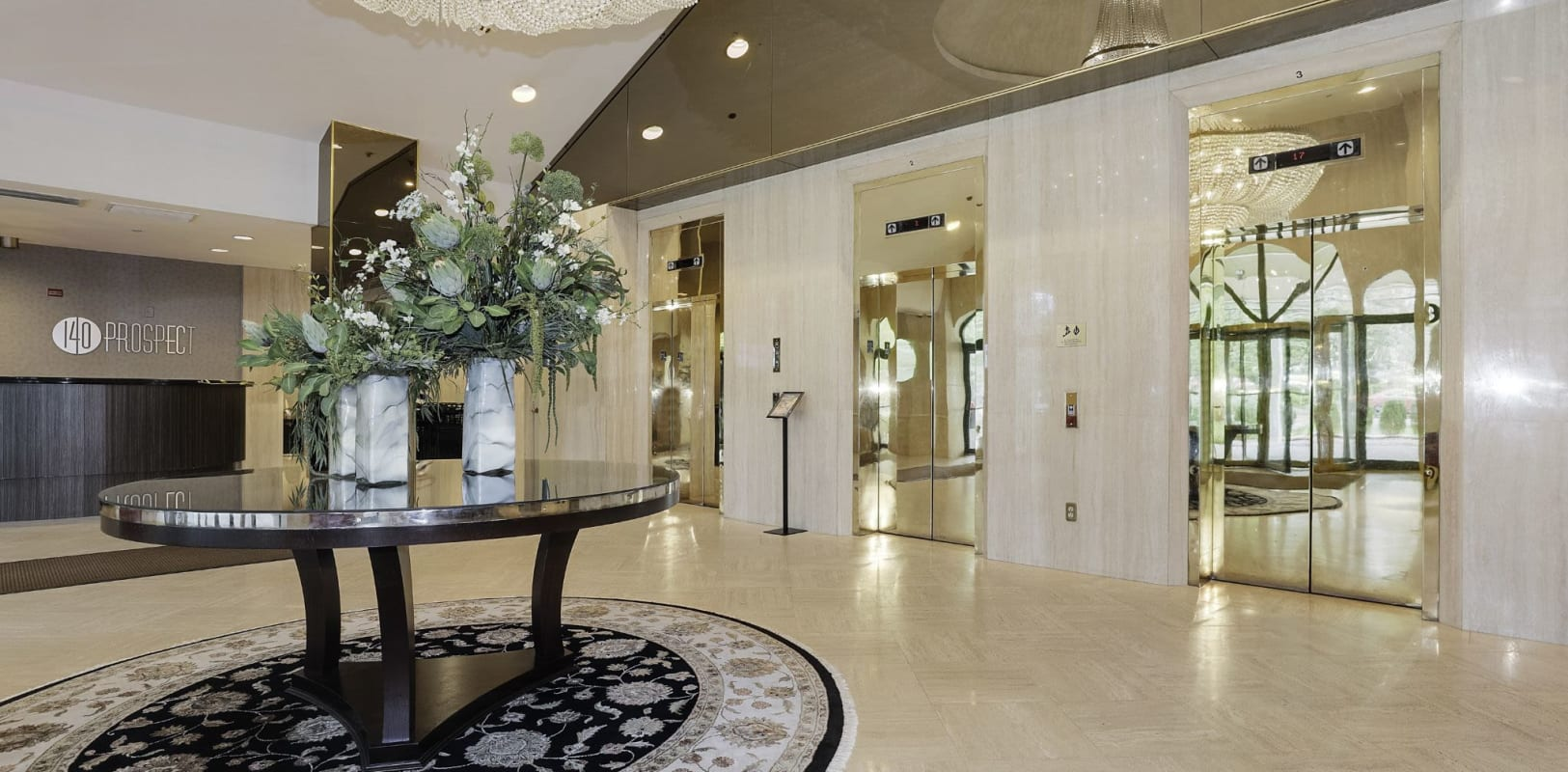 Lobby area at 140 Prospect in Hackensack, New Jersey