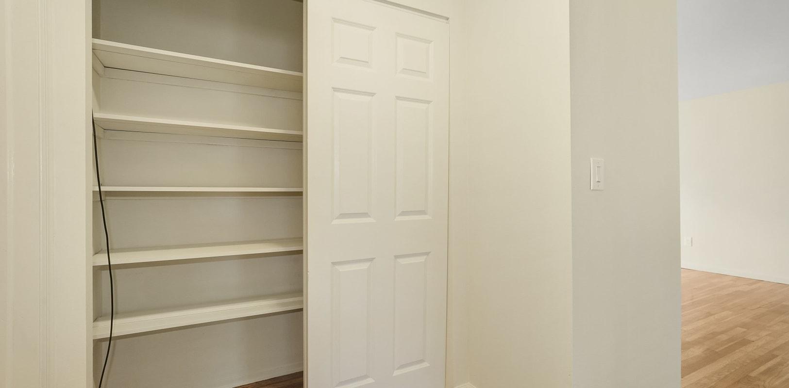 Hallway closet at Balmoral Arms in Matawan, New Jersey