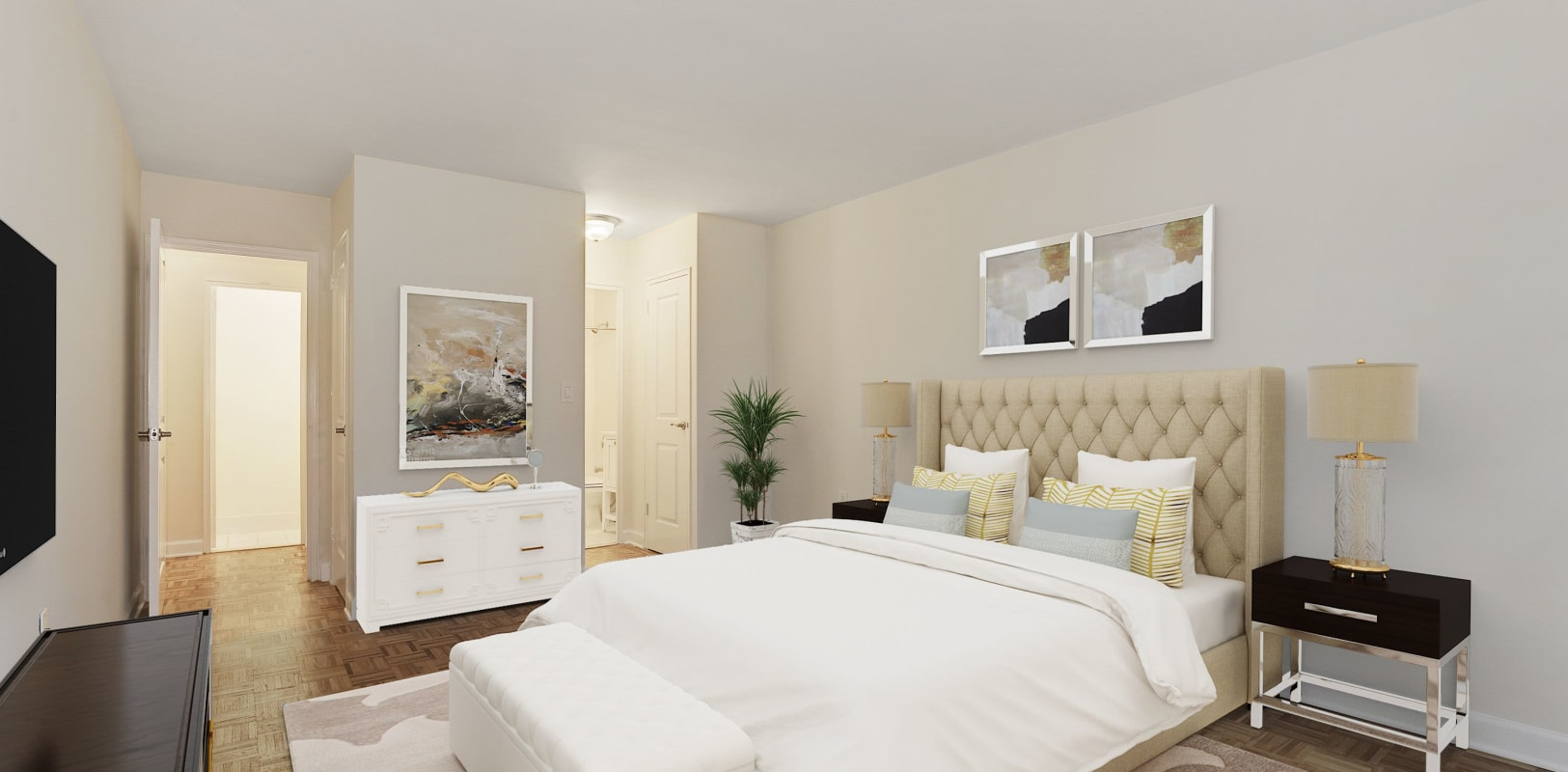 Cozy bedroom at Hamilton Court in Morristown, New Jersey