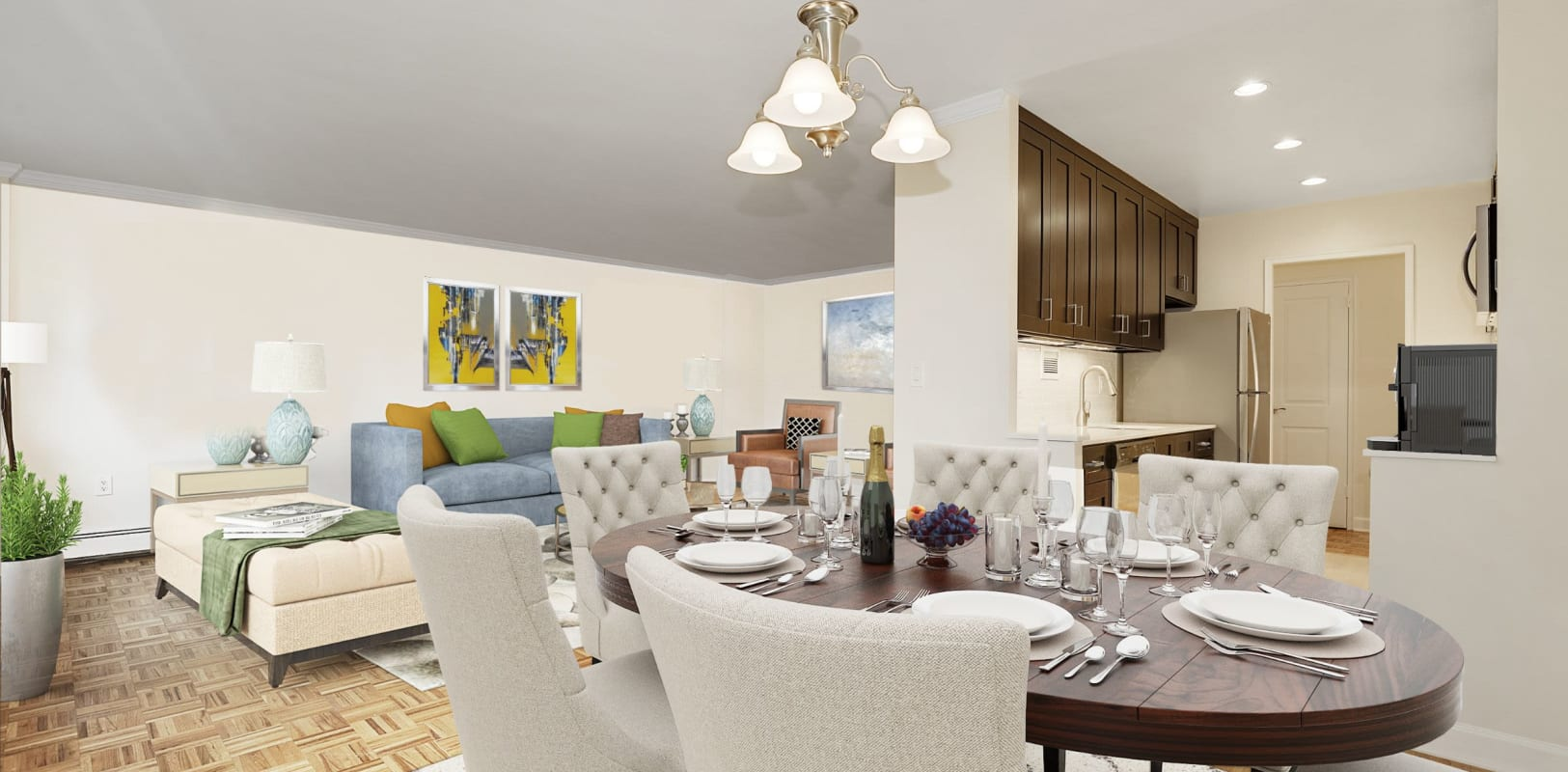 Open concept floor plan at Hamilton Court in Morristown, New Jersey