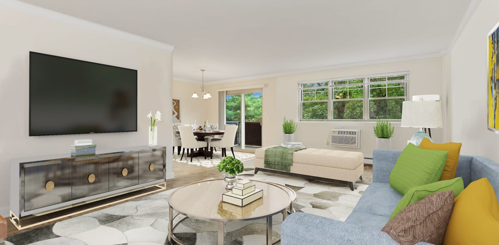 Living room at Hamilton Court in Morristown, New Jersey