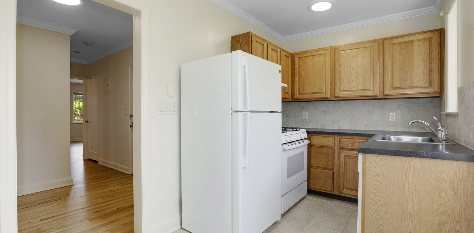 Kitchen with plenty of counter space at Mayflower Apartments in Ridgewood, New Jersey