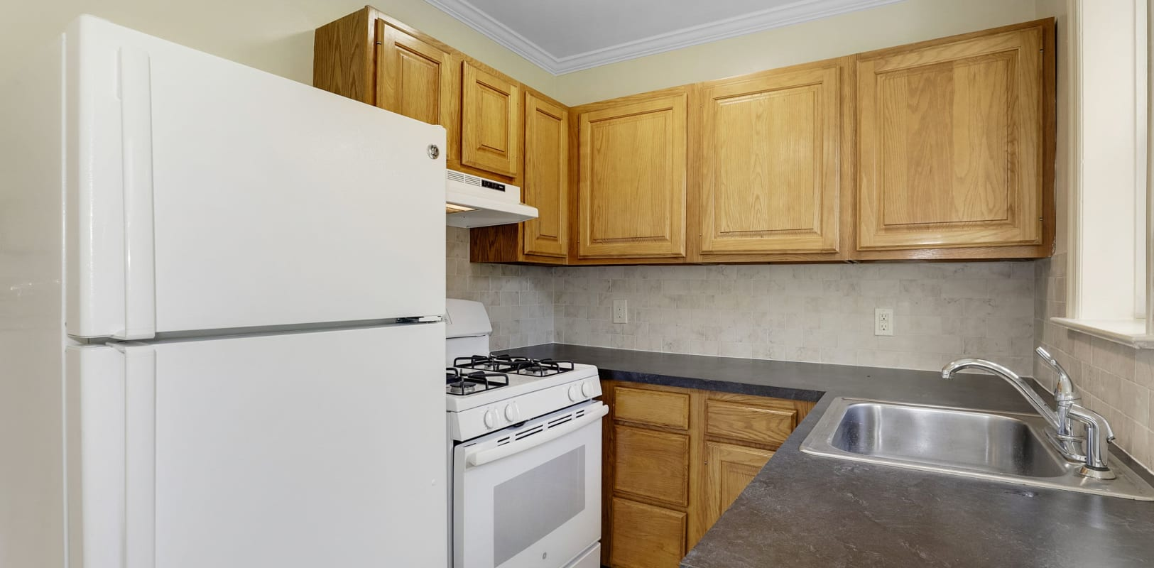 Bright, spacious kitchen at Mayflower Apartments in Ridgewood, New Jersey