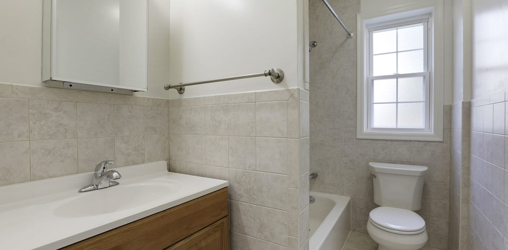 Clean bathroom at Mayflower Apartments in Ridgewood, New Jersey