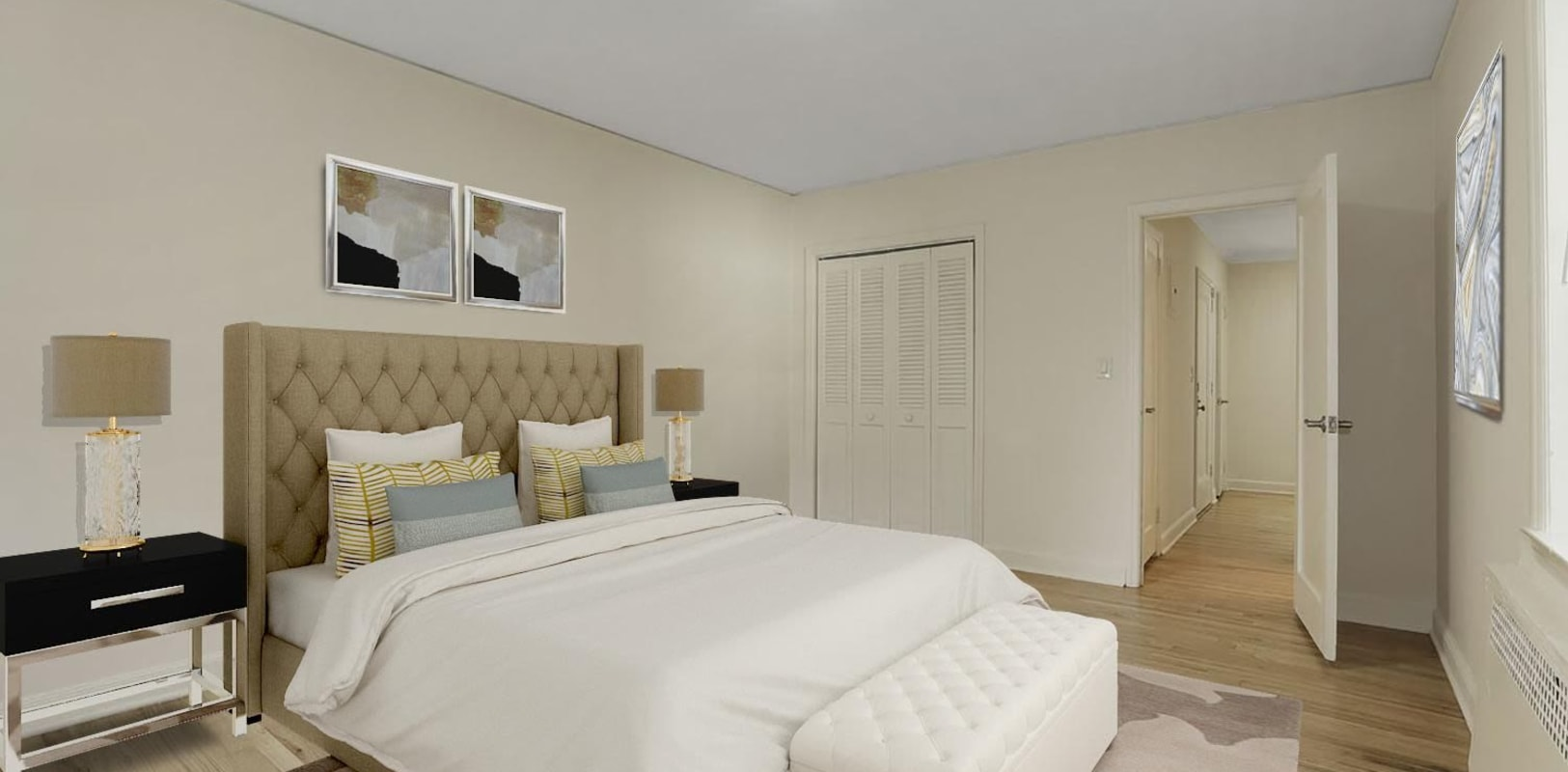Cozy bedroom at Mayflower Apartments in Ridgewood, New Jersey