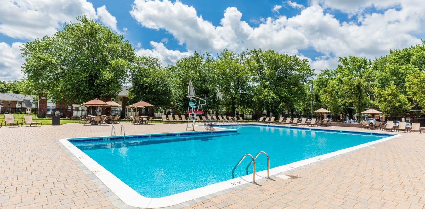 Sparkling swimming pool at Nieuw Amsterdam Village in South Amboy, New Jersey