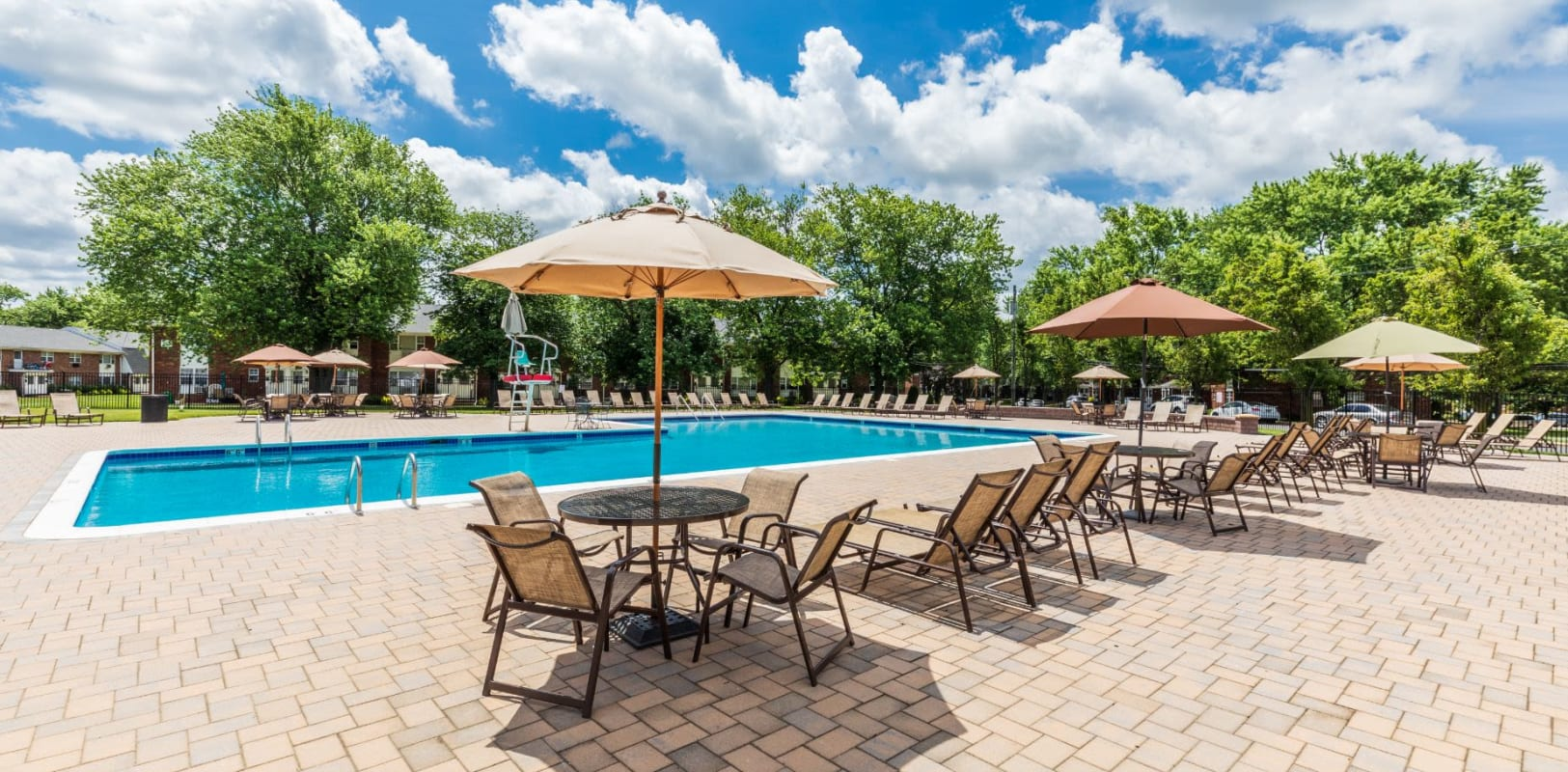 Poolside lounge at Nieuw Amsterdam Village in South Amboy, New Jersey