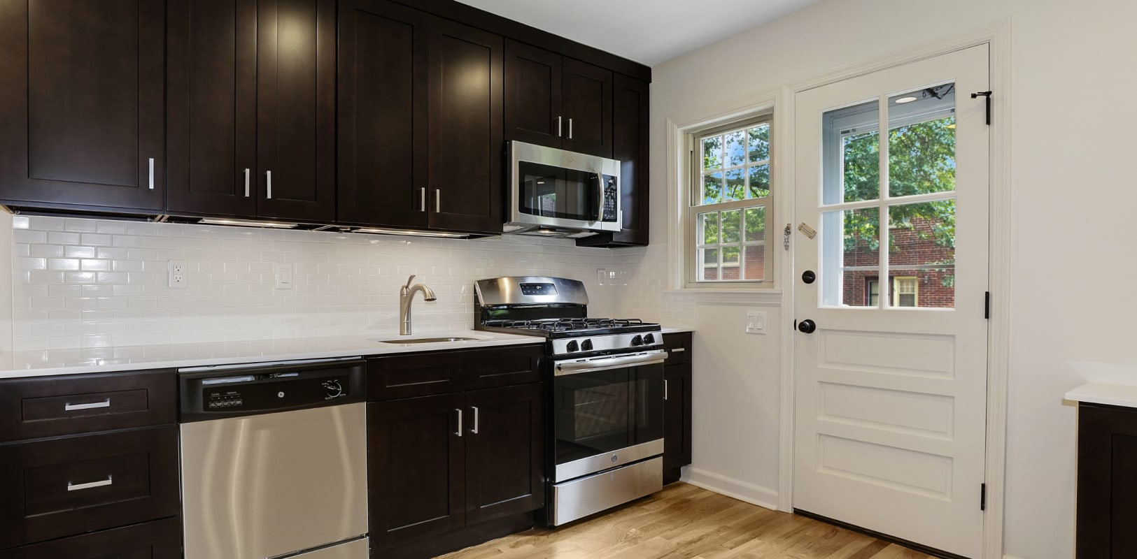 Kitchen with a view at Northfield Townhouses in West Orange, New Jersey