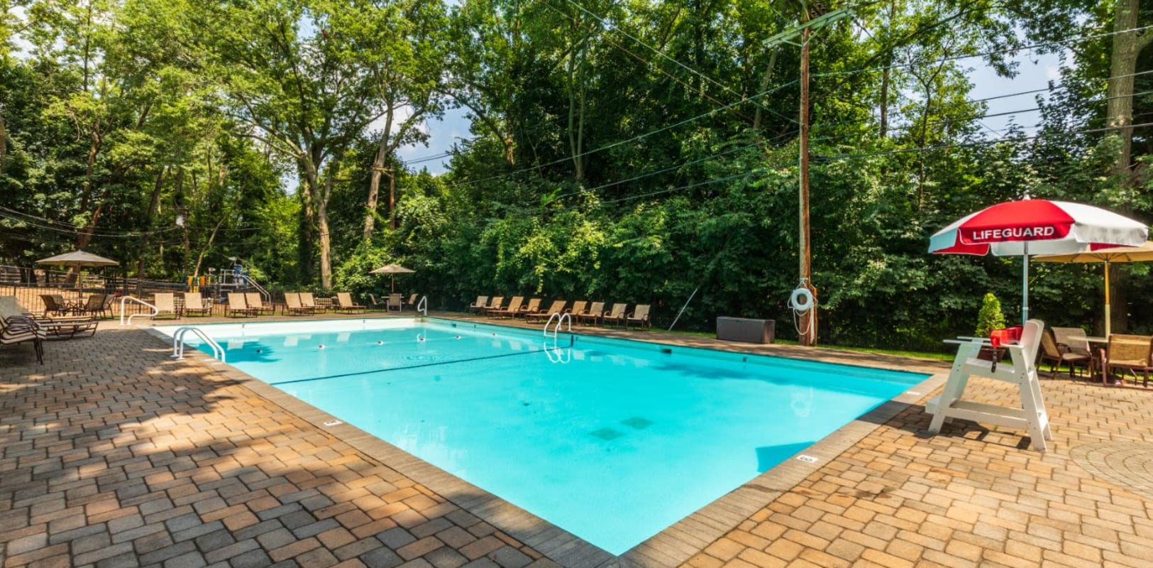 Resort-style swimming pool at Northfield Townhouses in West Orange, New Jersey