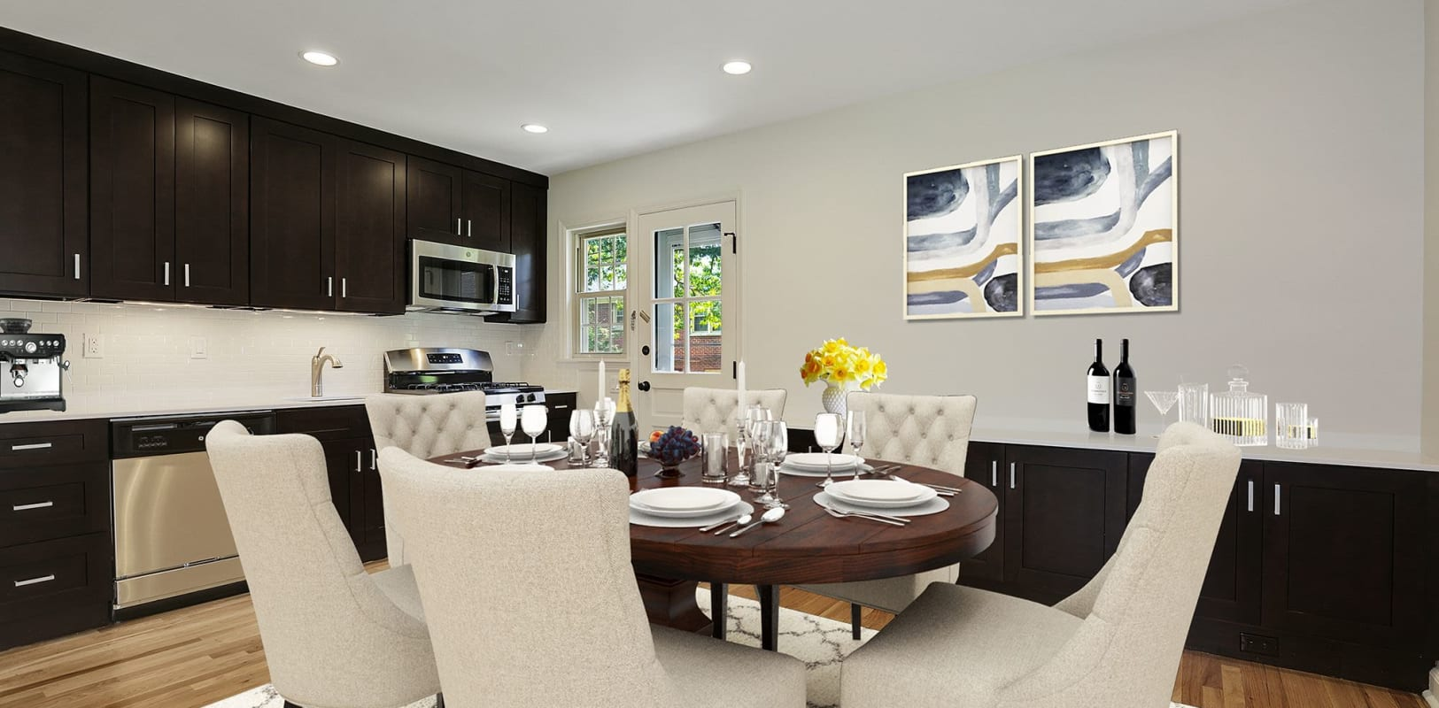 Dining table at Northfield Townhouses in West Orange, New Jersey