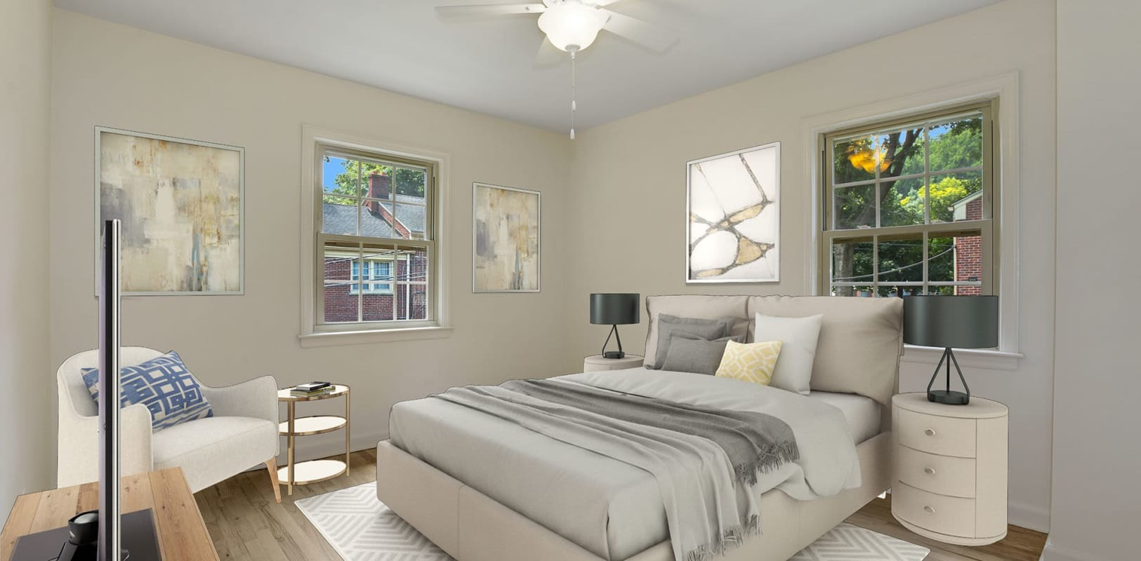 Well decorated bedroom at Northfield Townhouses in West Orange, New Jersey