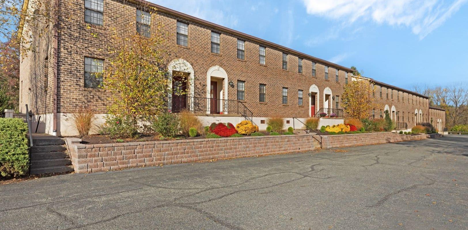 Brick exterior of Bridle Path Apartments in Bethlehem, Pennsylvania