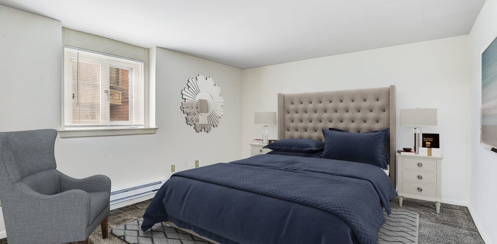 Large bedroom with plush carpeting at Brighton Court in Bethlehem, Pennsylvania