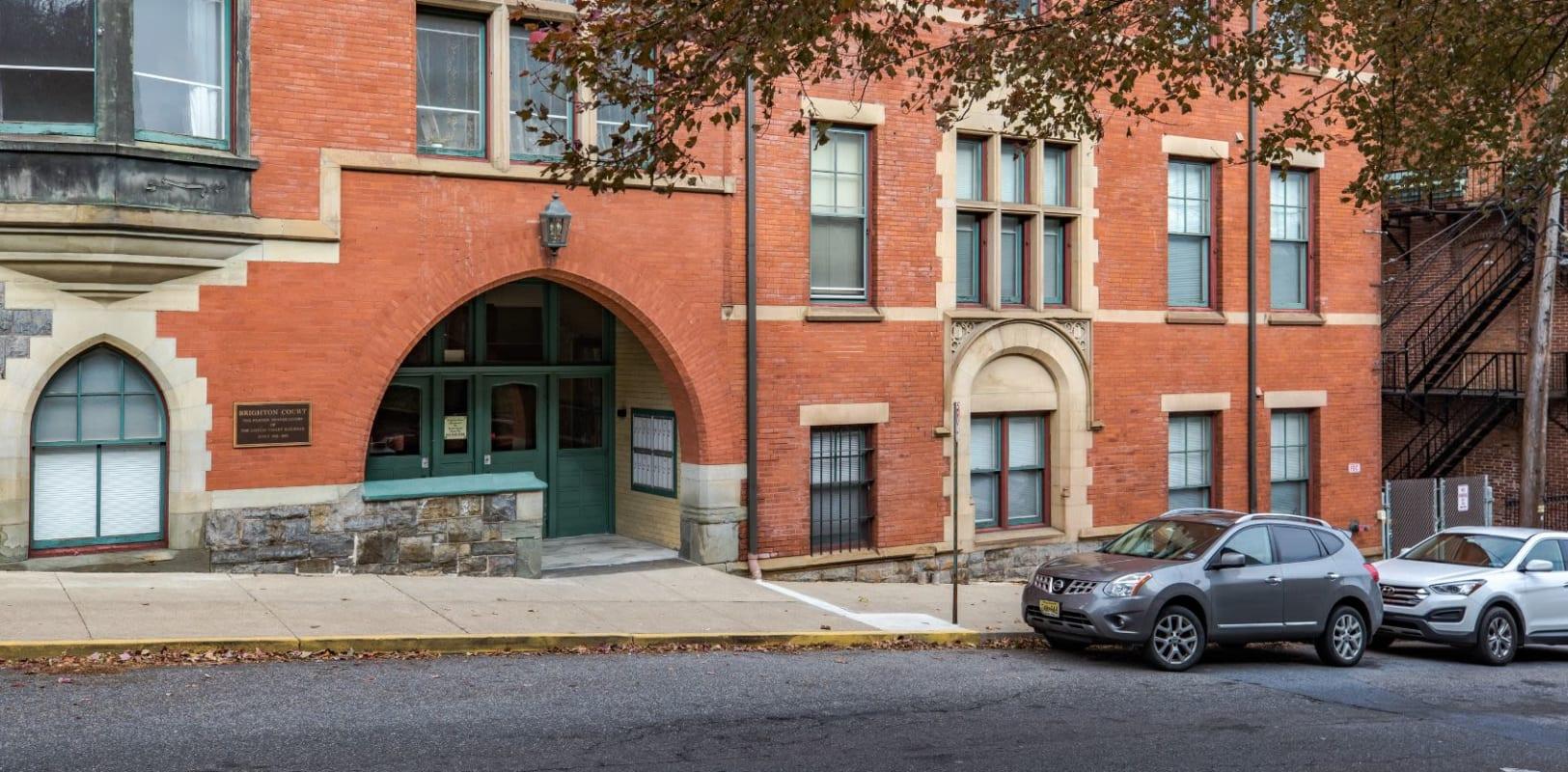 Beautiful brick exterior of Brighton Court in Bethlehem, Pennsylvania