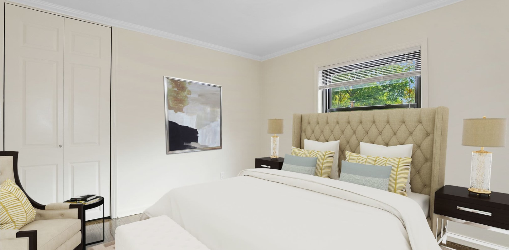 Cozy bedroom at Continental Gardens in River Edge, New Jersey