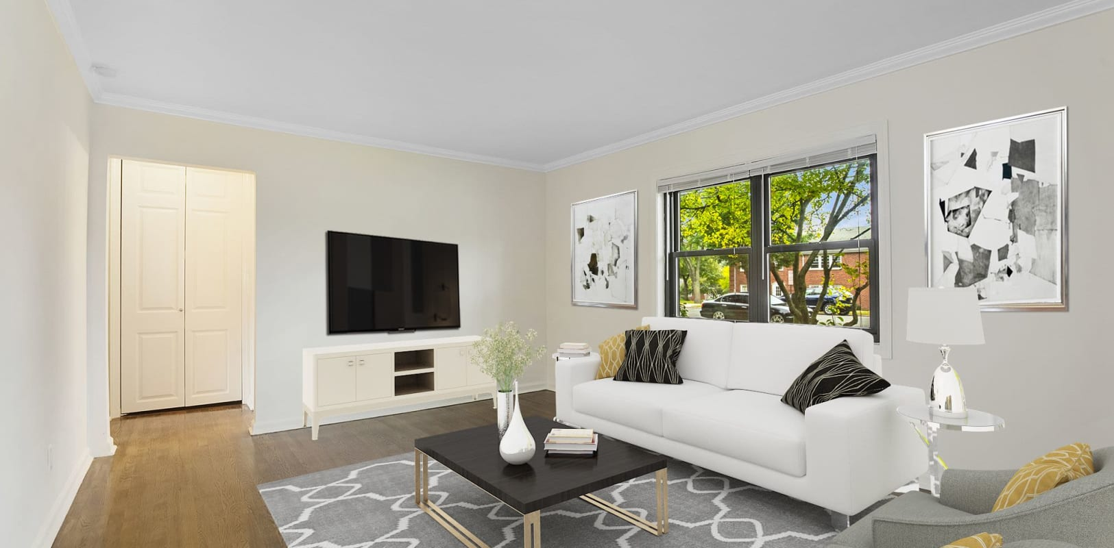 Spacious, bright living room at Continental Gardens in River Edge, New Jersey
