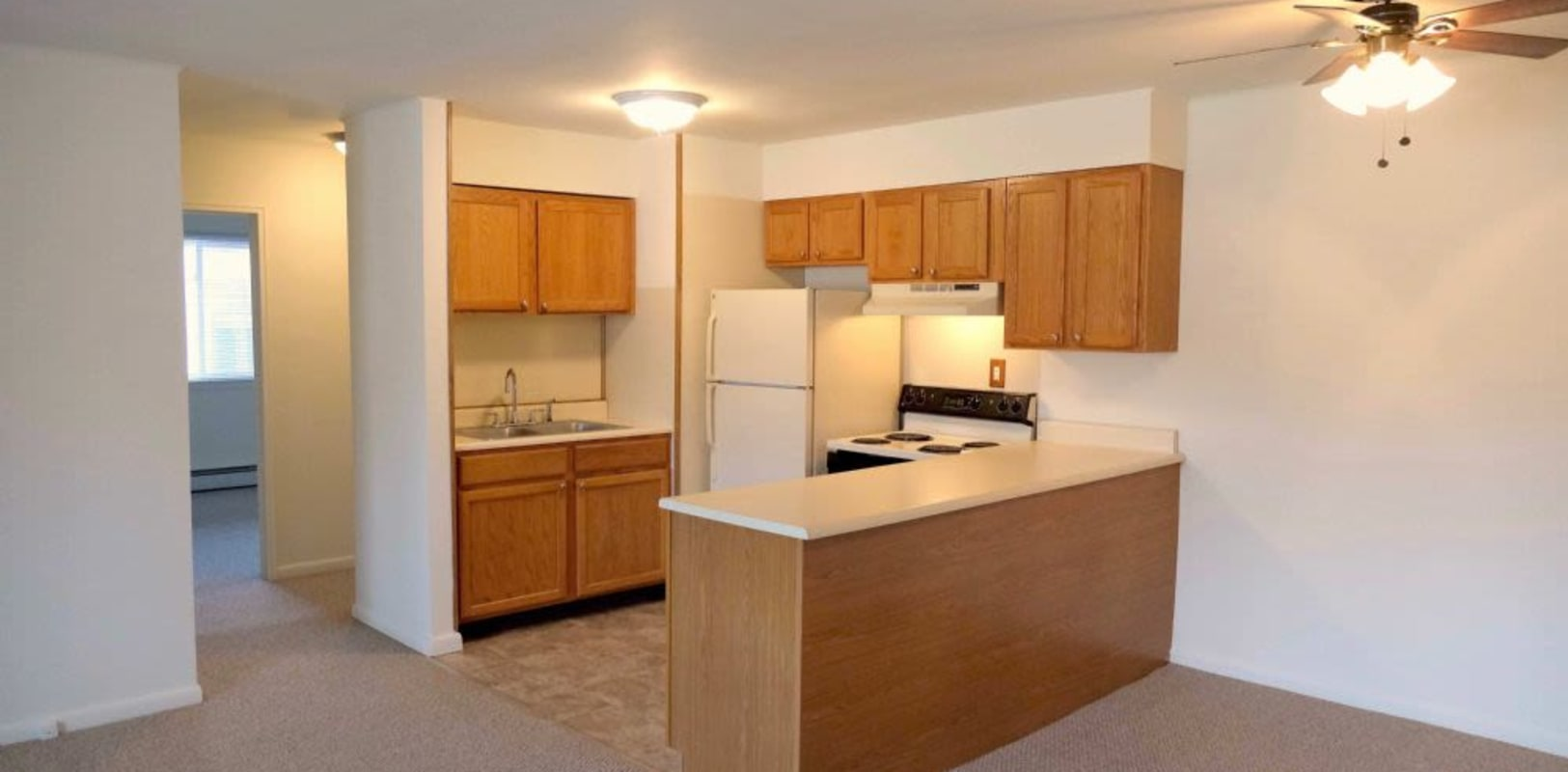 Fully equipped kitchen at Hillside Terrace Apartments in Newton, New Jersey