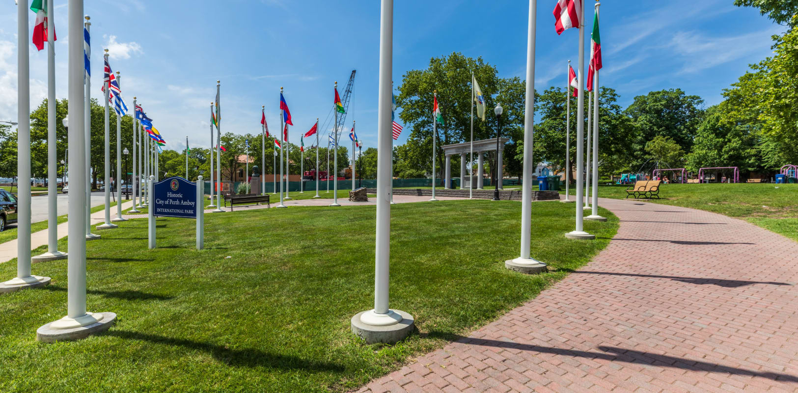 Incredible flags of many countries at the community park at Marineview Apartments in Perth Amboy, New Jersey