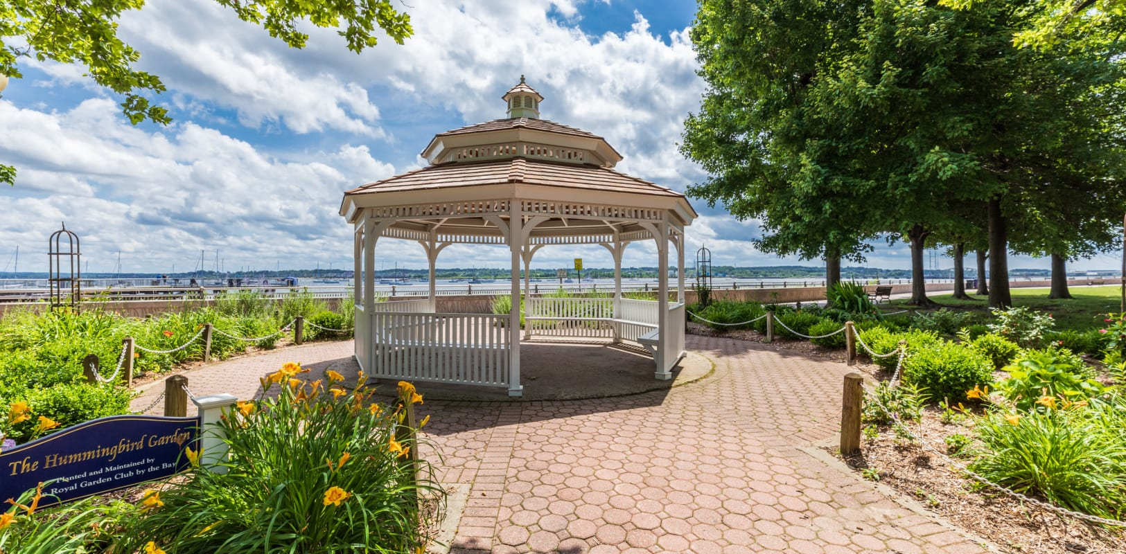 Gazebo in nice park near the water with lots of seats to relax at in Perth Amboy, New Jersey near Marineview Apartments