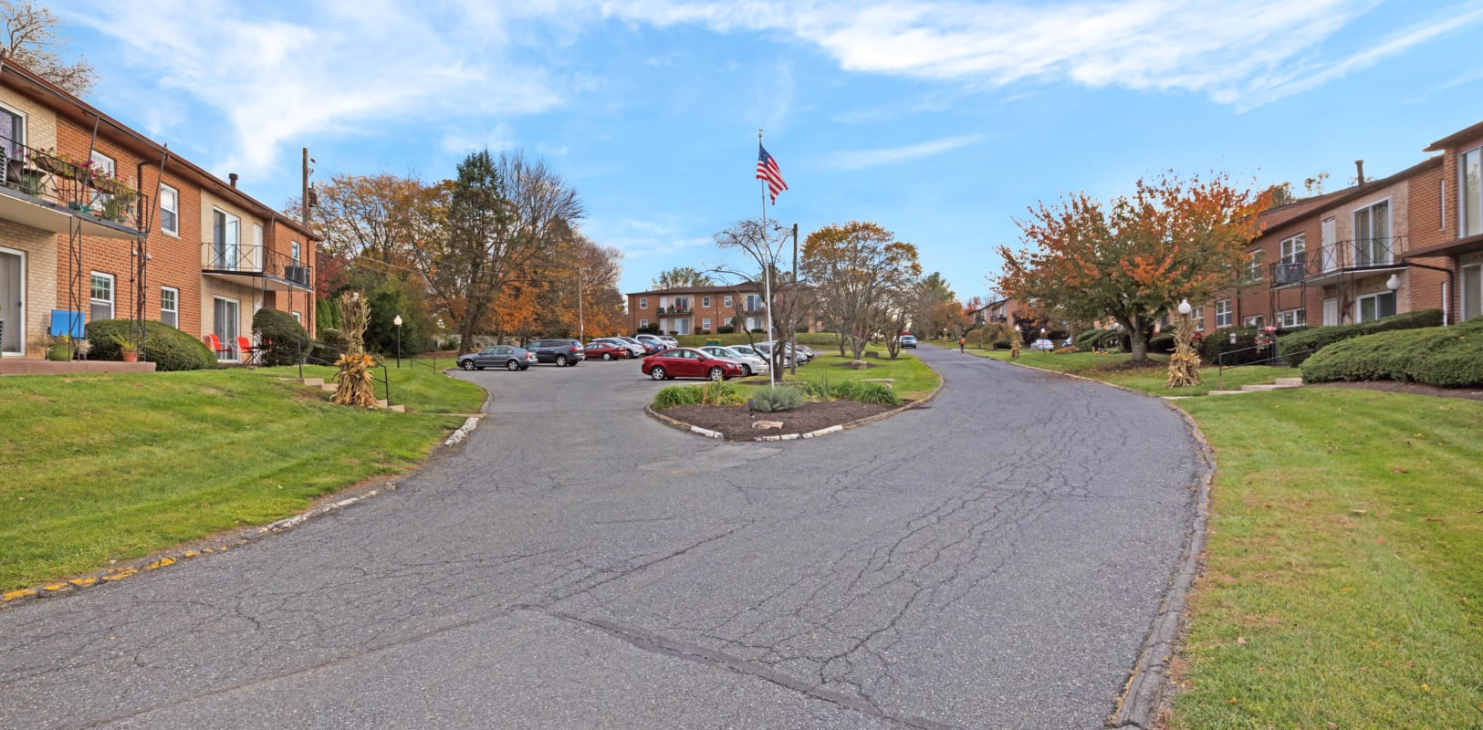 Parking lot and flag pole at Northfield Apartments in Bethlehem, Pennsylvania