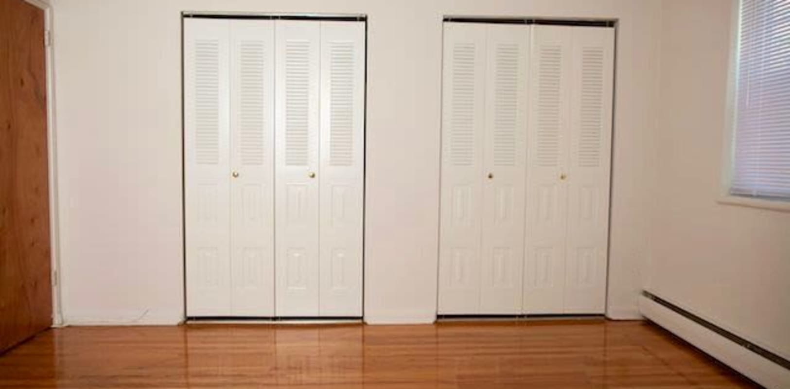 Double closets in the bedroom at Parkside Manor in Ewing, New Jersey