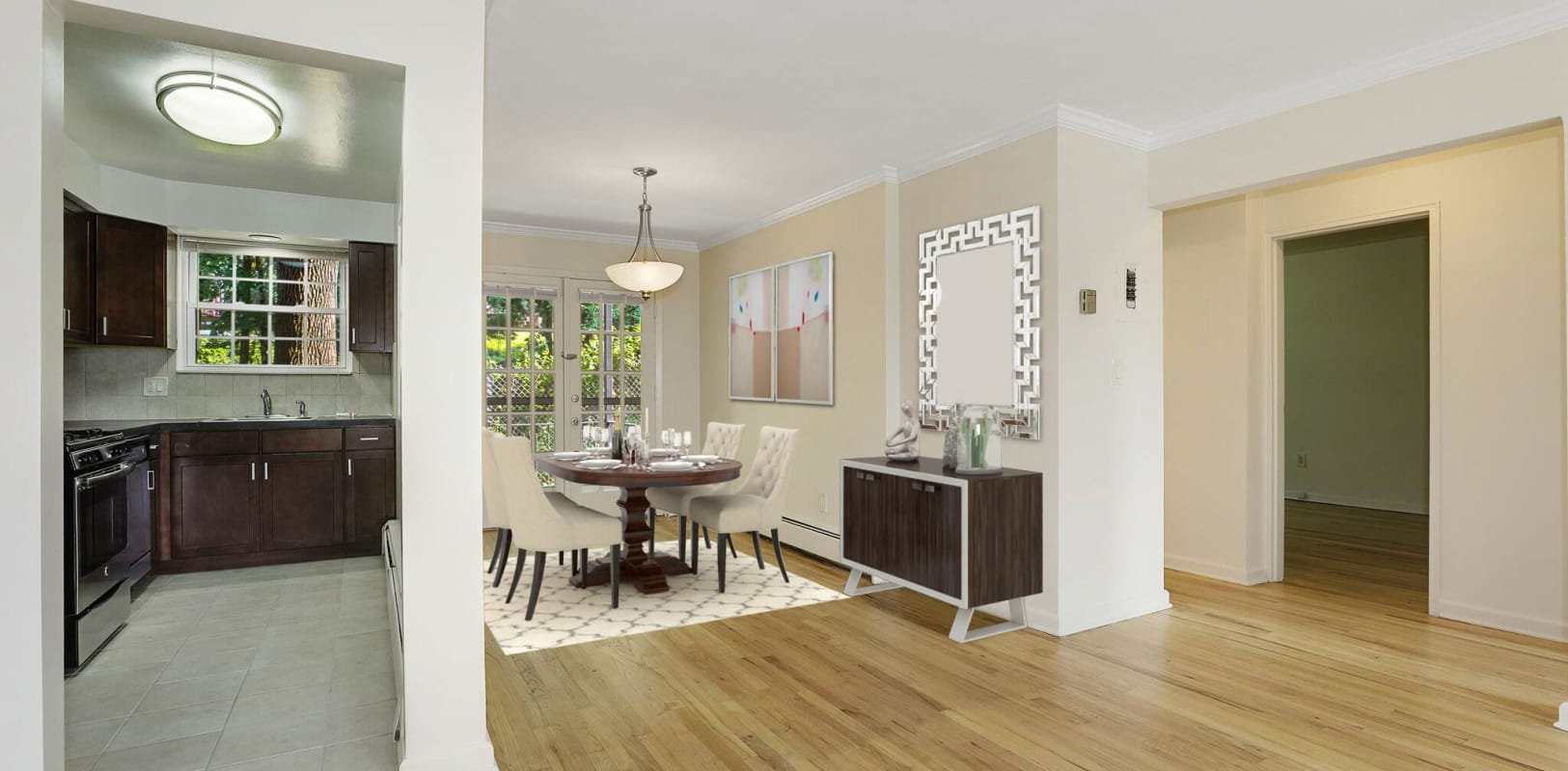 Kitchen and dining room at Parkway East Apartments in Caldwell, New Jersey