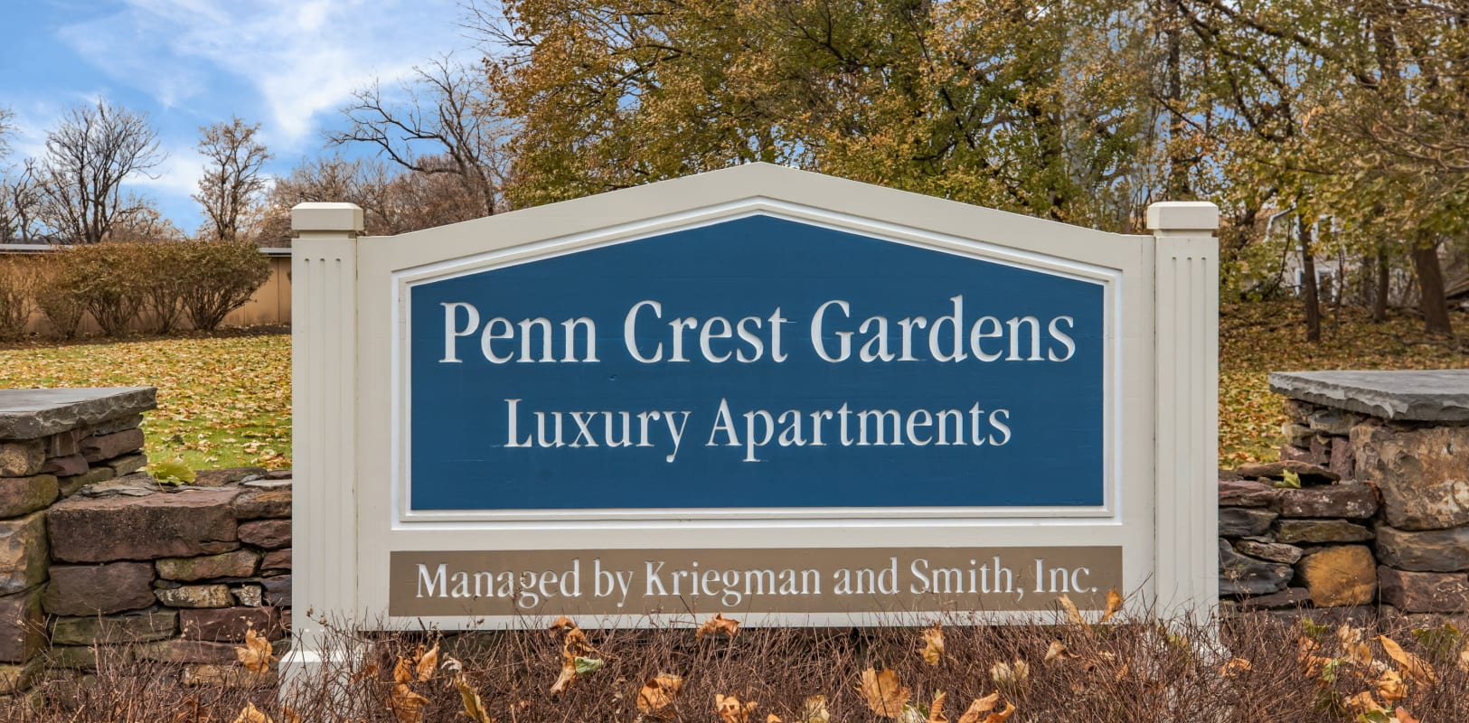 Penn Crest Apartments welcoming sign in Allentown, Pennsylvania