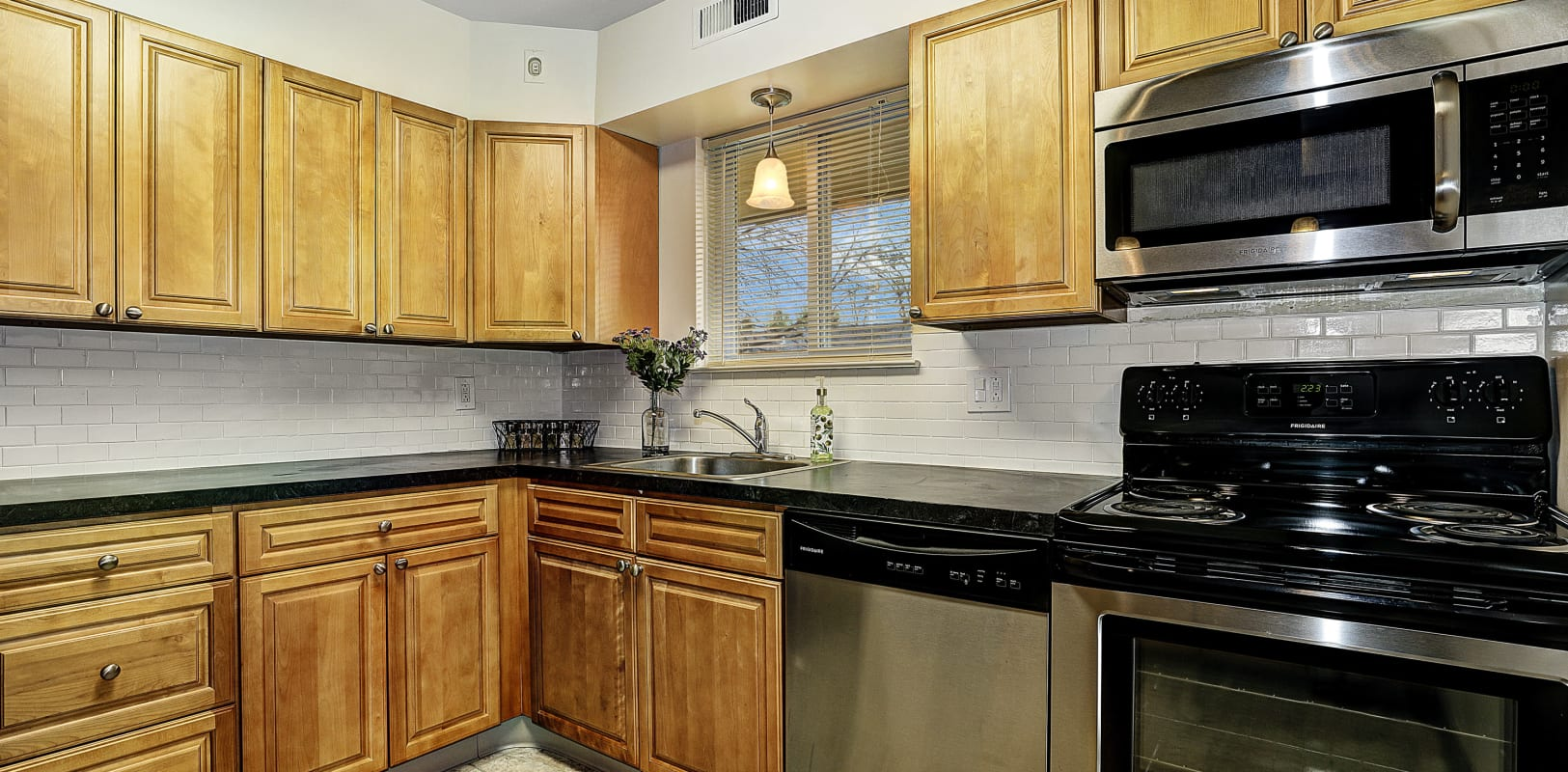 Lots of cabinet space in the kitchen at Penn Crest Apartments in Allentown, Pennsylvania