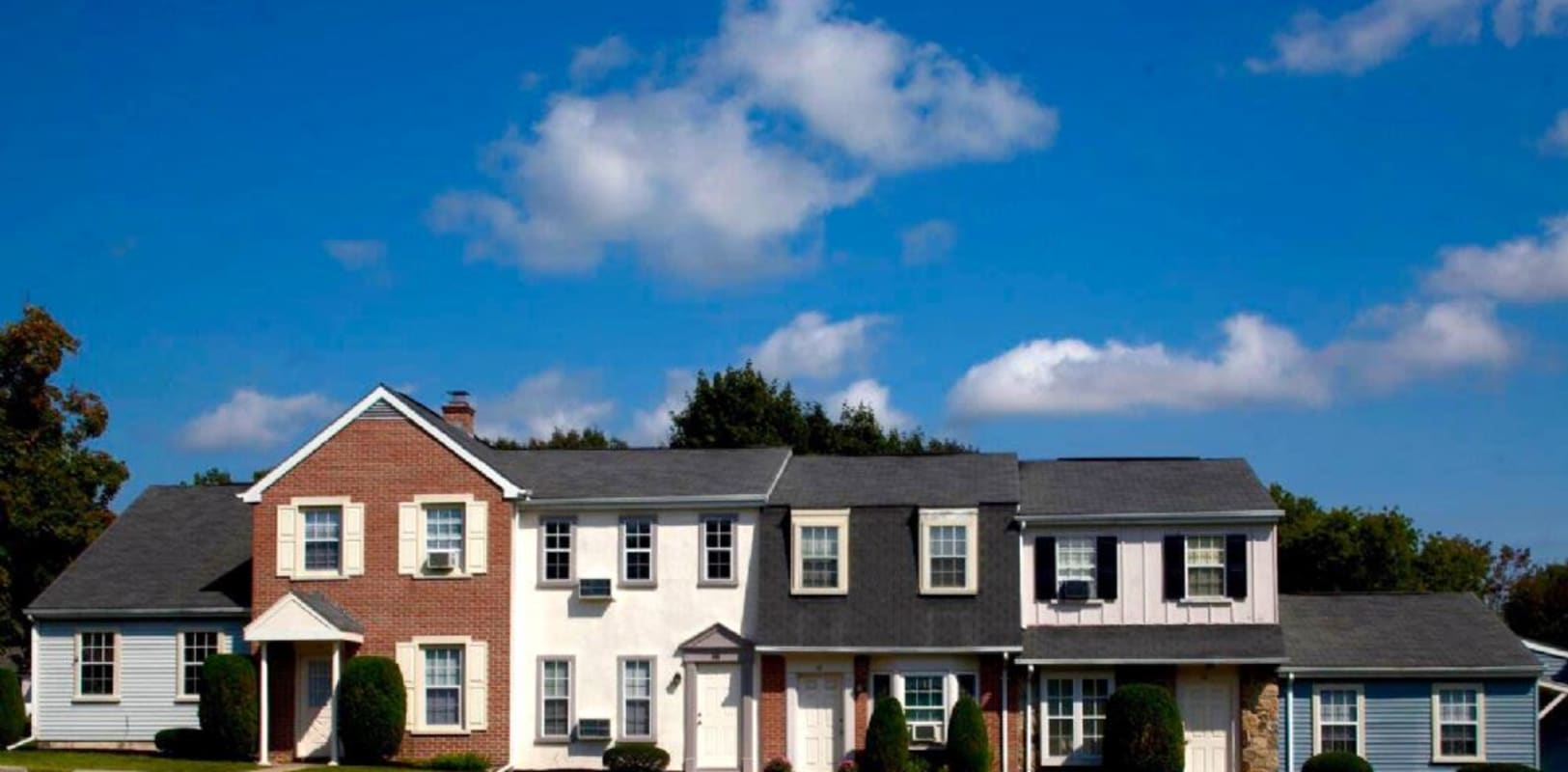 Townhomes view from the street at Oley Meadows in Oley, Pennsylvania