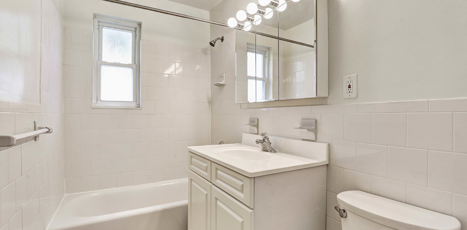 Clean bathroom with outside window at Rosedale Manor in Madison, New Jersey