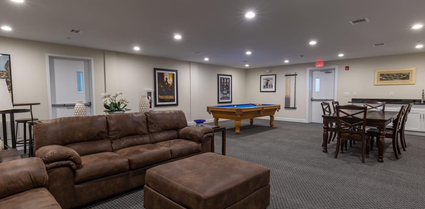 Clubhouse area with couches to relax at Zephyr Ridge in Cedar Grove, New Jersey