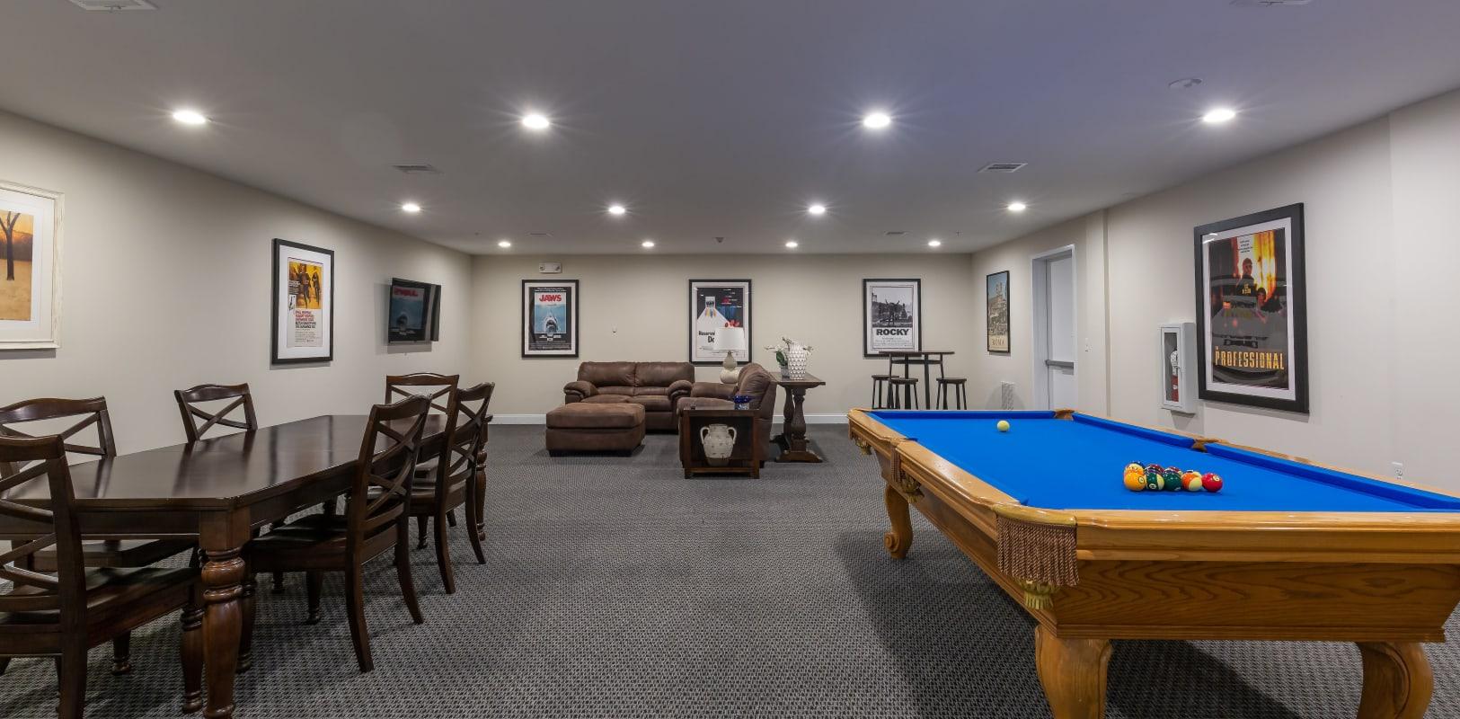 Billiard table in common area at Zephyr Ridge in Cedar Grove, New Jersey