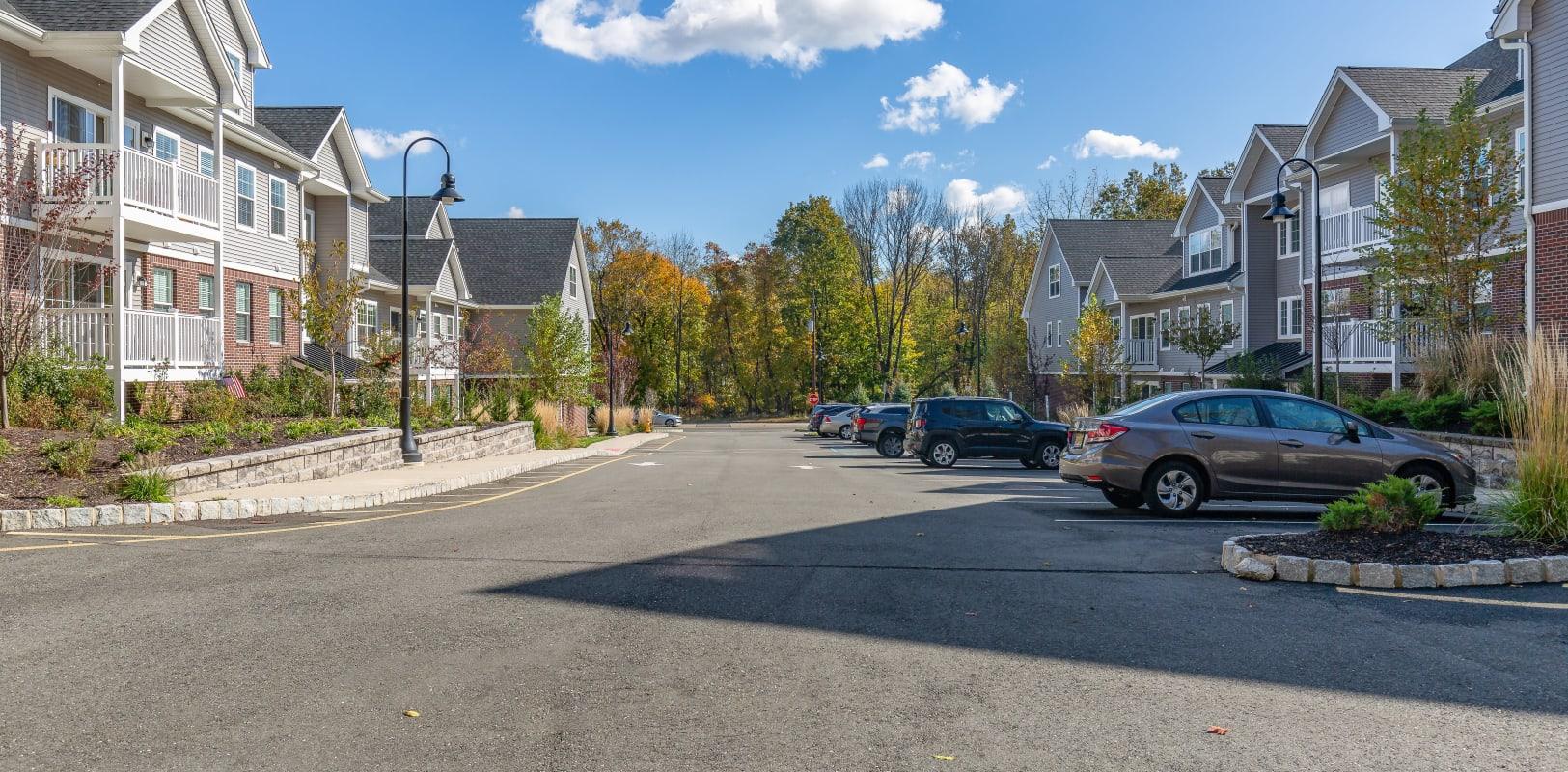 Exterior parking and street at Zephyr Ridge in Cedar Grove, New Jersey
