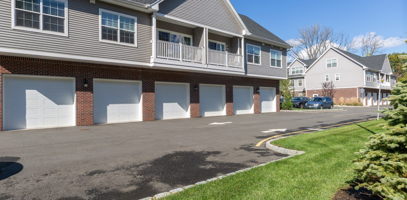 Exterior private garages at Zephyr Ridge in Cedar Grove, New Jersey
