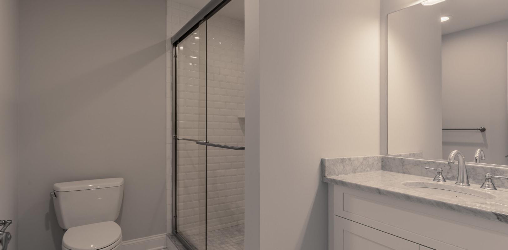 Bathroom with nice shower at Zephyr Ridge in Cedar Grove, New Jersey