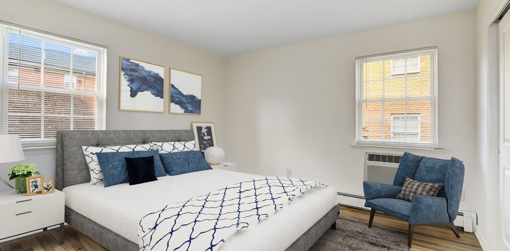 Large bedroom with natural lighting at Park Lane Apartments in Little Falls, New Jersey