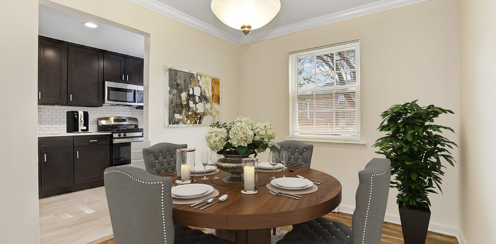 Dining room with easy kitchen access at Park Lane Apartments in Little Falls, New Jersey
