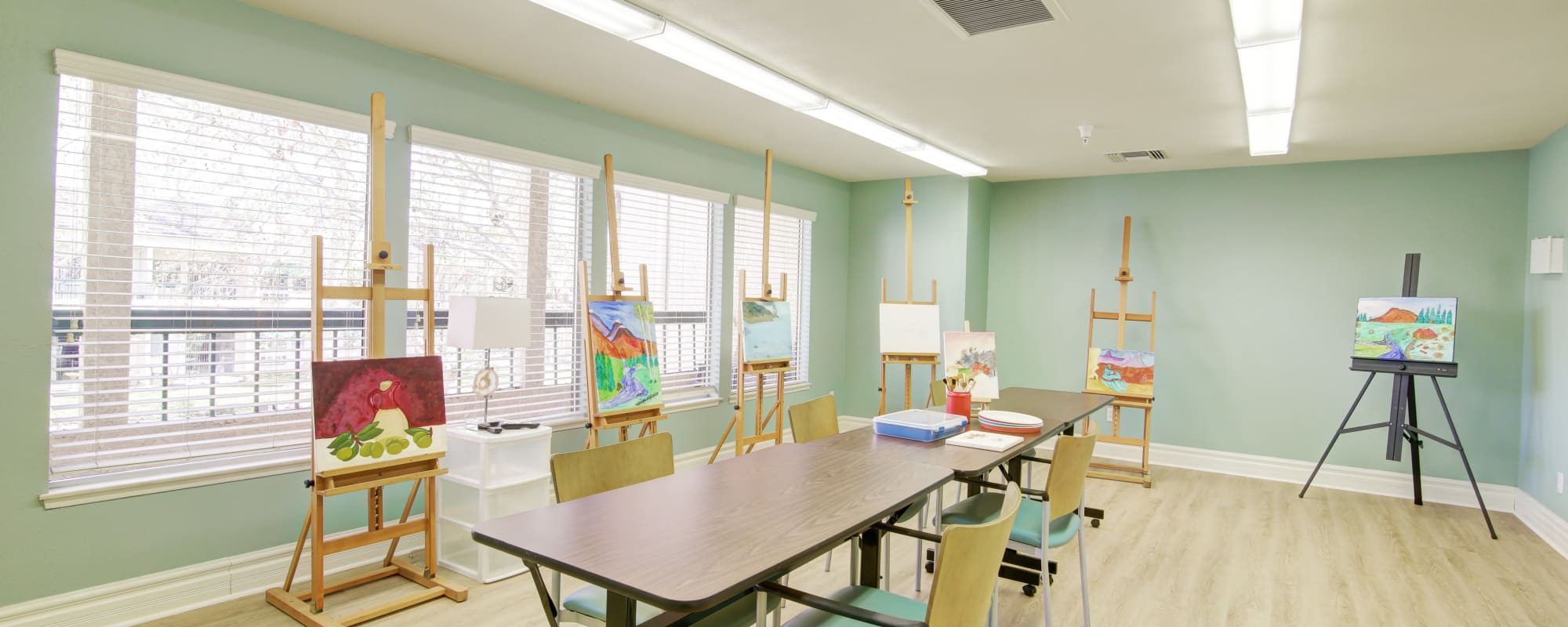 Spacious paint room at Citrus Place in Riverside, California