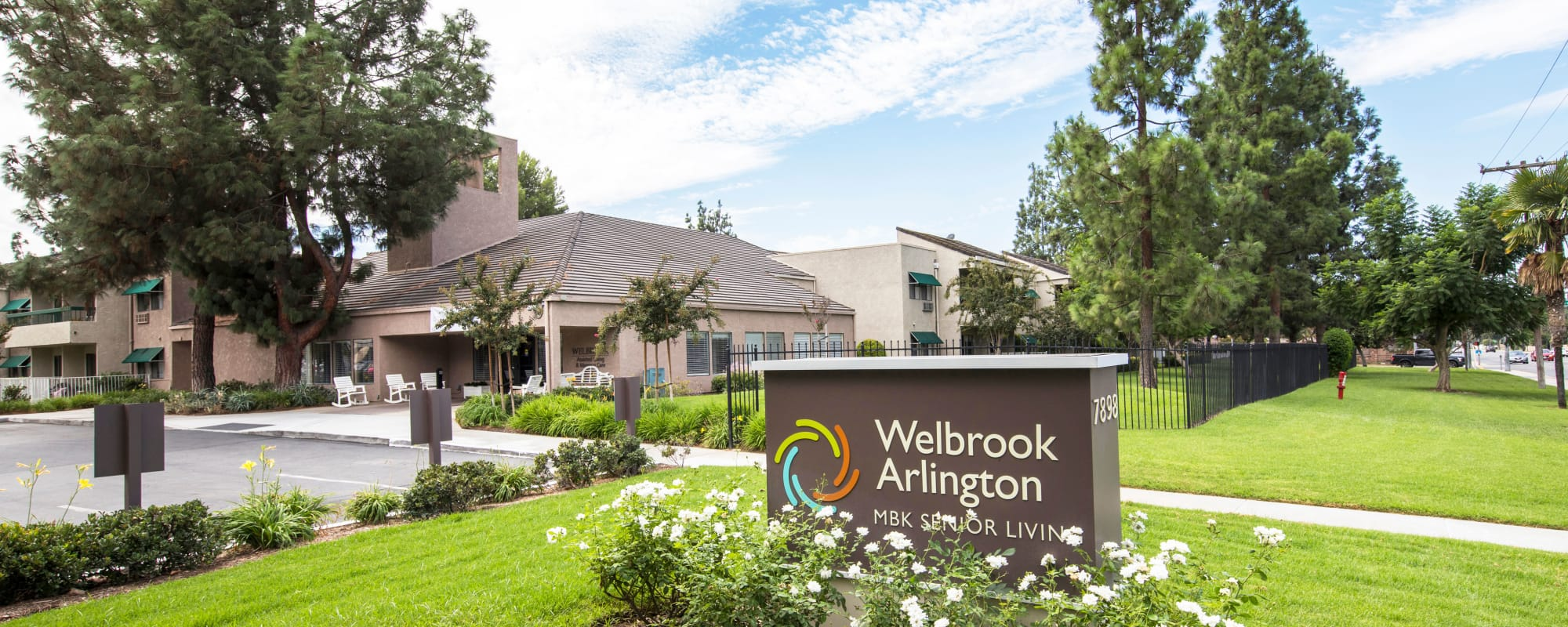 Welcome sign at Welbrook Arlington in Riverside, California